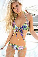 Яркий раздельный женский купальник с завязками на груди и шее с абстрактным принтом дайвинг