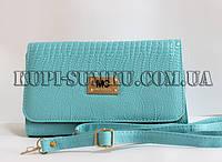 Бирюзовая сумочка-клатч с каркасной основой с ручкой через плече