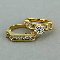 """Кольцо двойное женское """"Верона"""" цирконий позолота ювелирная бижутерия"""