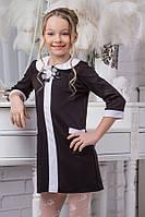 Школьное платье для девочки sh13 (черное и темно-синее)