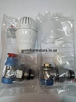 """Комплект для подключения радиаторов 1/2"""" угловой c терморегулятором Giacomini"""