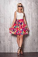 Женское платье 941 (малиновая юбка кремовый верх)