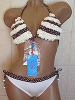 Купальник  с рюшами в горошек 95378, фото 1