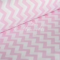 ✁ Отрезы детской ткани Розовые зигзаги