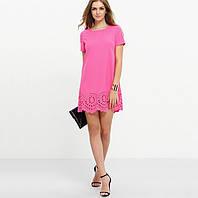 Мини платье розовое с коротким рукавом