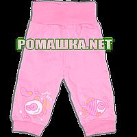 Штанишки на широкой резинке р. 74 для новорожденного ткань КУЛИР 100% тонкий хлопок ТМ Незабудка 2262 Розовый