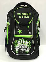 Рюкзак Winner stile 1770 школьный спортивный в черном цвете   с надписями