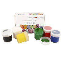 Набор акриловых красок по ткани  6х20мл Decola