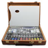 Артбокс с акриловыми красками Polycolor 101 13 цветов по 20 мл деревянный ящик 25х35 Maimeri Италия