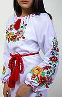 Женское вышитое платье с маками