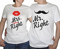 "Парные футболки ""Mr. and Mrs. Right"""
