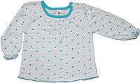 Блуза для девочки, белая в бирюзовые сердечки, рост 92 см, Фламинго