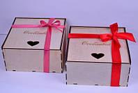 Деревянная коробка для упаковки свадебного подарка