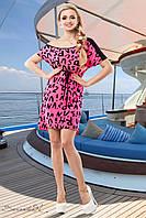 Платье-туника с модным принтом рукав реглан с пояском 42-52 размеры