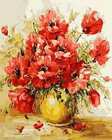 Картины по номерам 40×50 см. Маки в желтой вазе