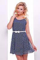 Короткое летнее платье синее в горошек Амур 42-50 размеры