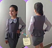 Школьное платье длинные рукава шифон в горошек.