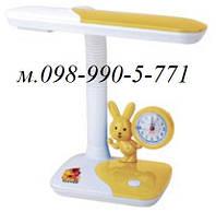 Настольная лампа №026 детская с зайцем и часами под лампу люминисцентную PL11 мощность 11 вт.