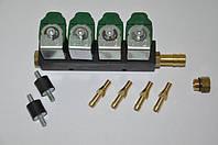 Форсунки Valtek (GreenGas) type 30, 4 цилиндра, 3 Ом, с штуцерами в коллектор без жиклёров