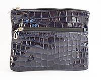 Стильная женская сумка почтальонка с лакированной эко кожи темно синего цвета Б/Н art. ???