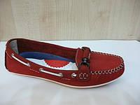 Красные замшевые мокасины женские Етор43