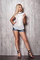 Классическая  блузка без рукавов, с воротником-стойкой