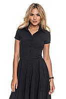 Платье с рубашечным воротником и поясом на пуговицах