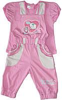 Костюм летний для девочки, футболка и комбинезон, рост 92 см, ТМ Фламинго