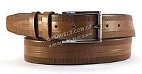 Ремень мужской кожаный коричневого цвета классика 3,5 см. DIPLOM
