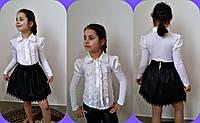 Детская блузка со вставками из атласа.