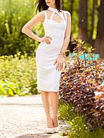 """Модное красивое платье """"Белый Мемфис"""" до колена"""