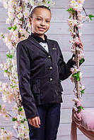 Школьный пиджак для девочки sh20 (черный и темно-синий)