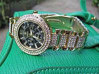 Женские кварцевые часы Rolex Gold , черный циферблат