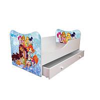 Детская кровать с ящиками и матрасом 160*80 Винкс