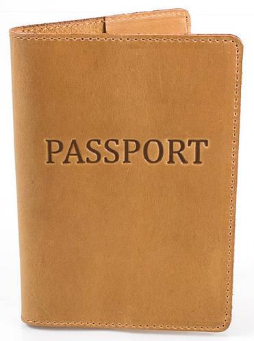 Кожаная обложка для паспорта женская DNK LEATHER DNK-Pasport-Hcol.E желтовато коричневый