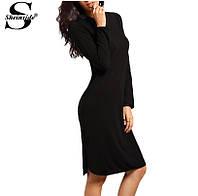 Чёрное платье до колен с длинным рукавом