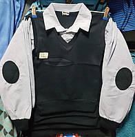 Рубашка-обманка на мальчика с голубыми рукавами