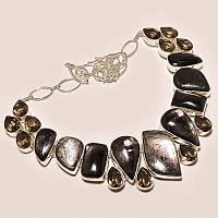 Колье, ожерелье из натуральных камней - ЗОЛОТИСТЫЙ ОБСИДИАН, РАУХТОПАЗ (ДЫМЧАТЫЙ КВАРЦ)