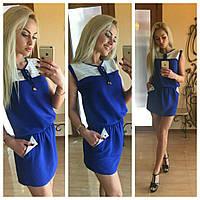 Платье женское с резинкой на поясе Синее