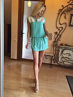 Платье женское с резинкой на поясе Голубое