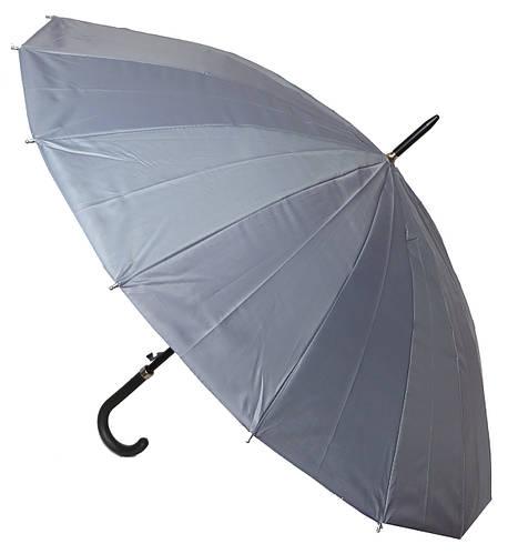 Зонт-трость полуавтоматический мужской Paul Rossi 290061 (серый).