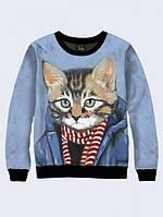 Свитшот Кот в шарфе