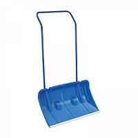 Лопата (скребок) снегоуборочная широкая, пластик-металл высота 140 см., размер 75х45 см. цвет синий, Польша