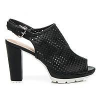 Босоножки женские ажурные черные на устойчивом каблуке