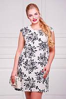 Платье льняное большого размера серое с цветочным принтом Смузи 50-60 размеры