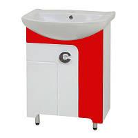 Тумба бело красная с дверцами и умывальником в ванную комнату