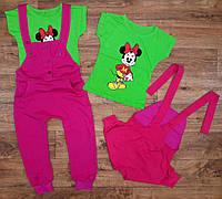 """Летний комплект для девочек """"Микки Маус"""" комбинезон+футболка, рост от 86 до 116 см"""
