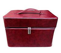 Чемодан / сумка для мастера визажиста, маникюра, парикмахера, вместительная, легкая. Бардовый, матовый