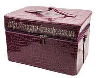 Сумка-чемодан для мастеров маникюра и педикюра, большой вместительный кейс для визажиста, фуксия лаковый.