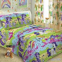 Детское постельное белье в кроватку, подростковый комплект постельного ( 100% хлопок) Литтл Пони